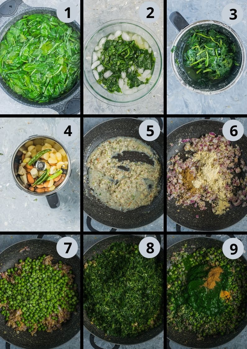 9 image collage showing the steps to make Garlicky Peas Spinach Fenugreek Curry