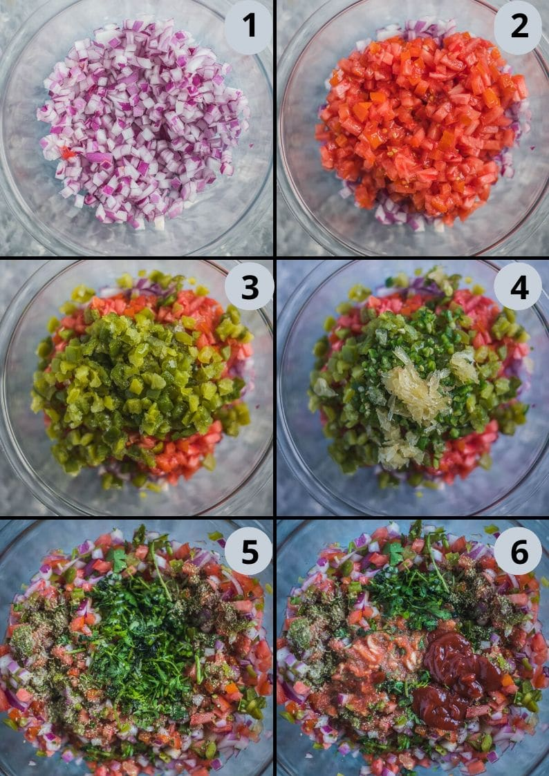 6 image collage showing how to make vegan Mexican food - salsa