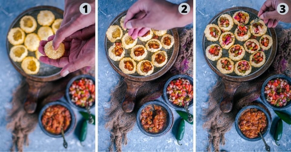3 image collage showing how to make one of the most popular Asian snacks called Indian Mexican Pani Puri