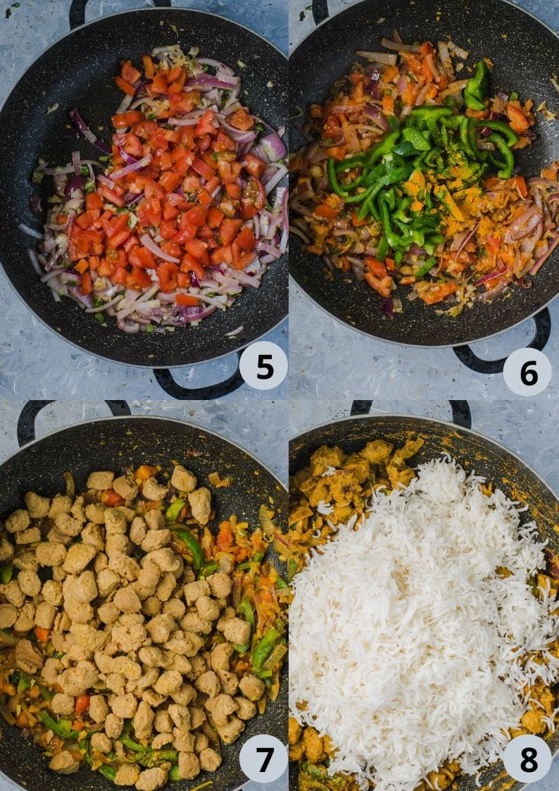 4 image collage showing how to make Soya Chunks Pulao
