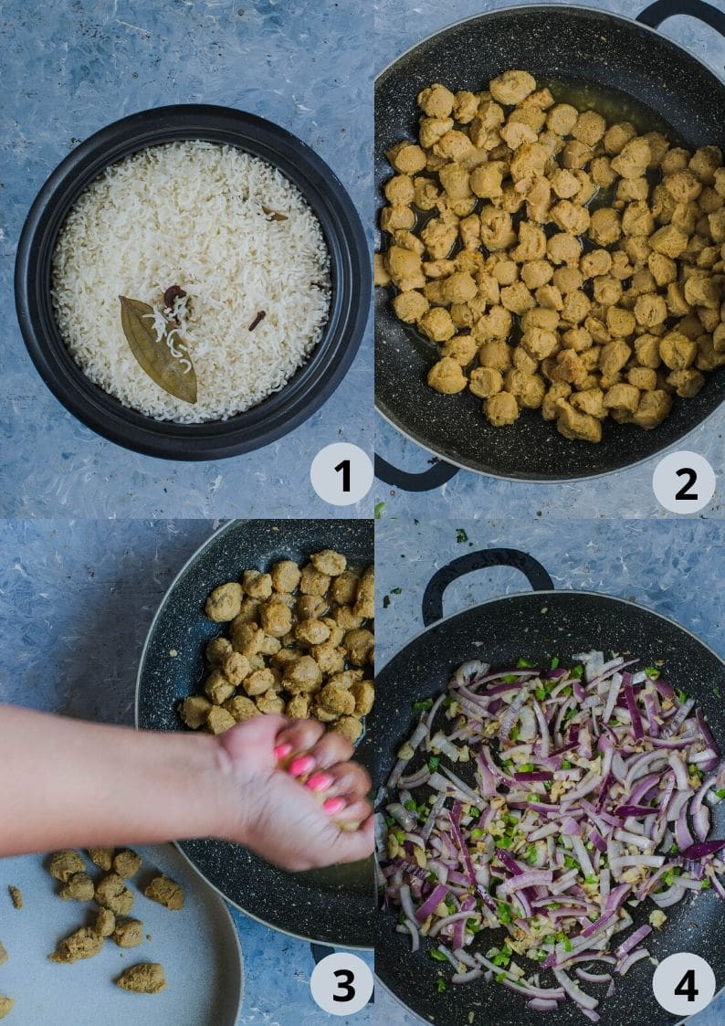 4 image collage showing the steps to make Soya Chunks Pulao