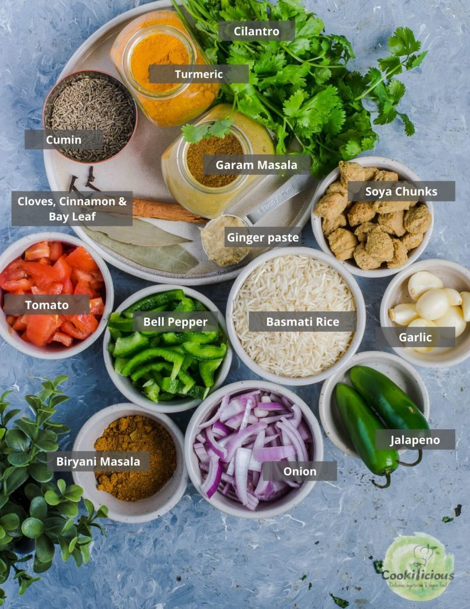all the ingredients needed to make Soya Chunks Pulao  arranged in a tray