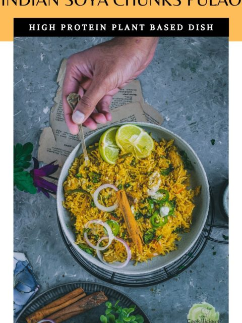a hand reaching out with a spoon in hand to dig in to a bowl of Soya Chunks Pulao and text at the top