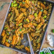 Indian Pasta Recipe | One-Pot Vegan Curry Pasta Dish in a rectangular bowl with a fork in it