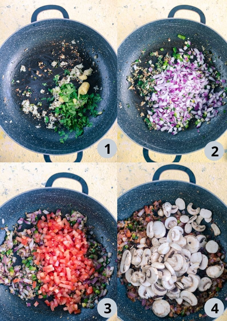 4 image collage showing the steps to make Indian Pasta Recipe | One-Pot Vegan Curry Pasta Dish