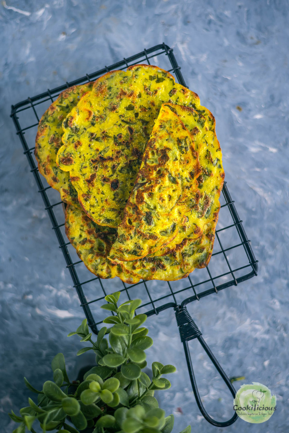 Methi Ghavan | Fenugreek Rice Flour Crepes on a wire rack