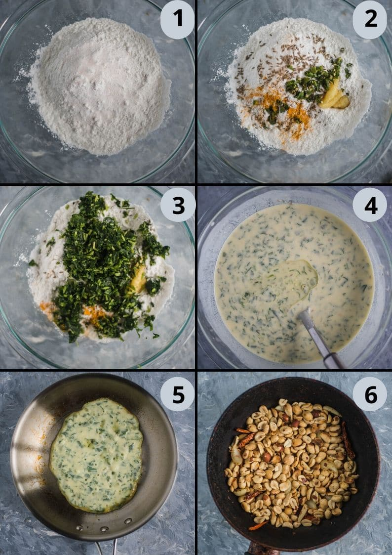 6 image collage showing the steps to make Methi Ghavan | Fenugreek Rice Flour Crepes