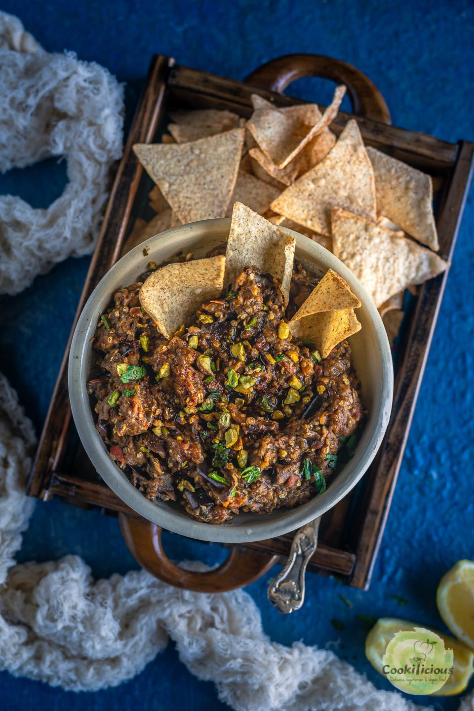 Moroccan Eggplant Zaalouk served with tortilla chips