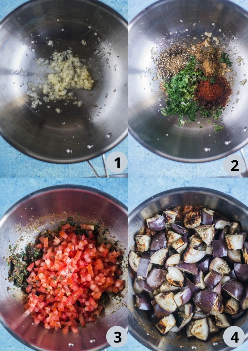 4 image collage showing the steps to make Moroccan Eggplant Zaalouk
