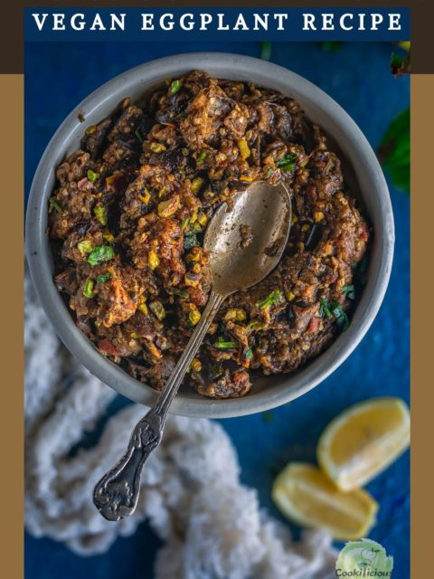 a spoon resting over a bowl of Moroccan Eggplant Zaalouk and text at the top