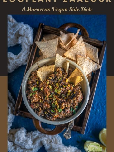 Moroccan Eggplant Zaalouk served with tortilla chips and text at the top