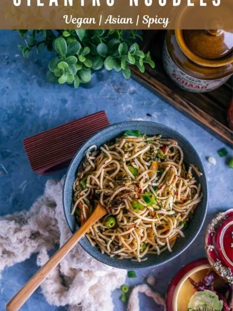 a small round bowl filled with Hot and Spicy Noodles/ Cilantro Pot Noodles and text at the top