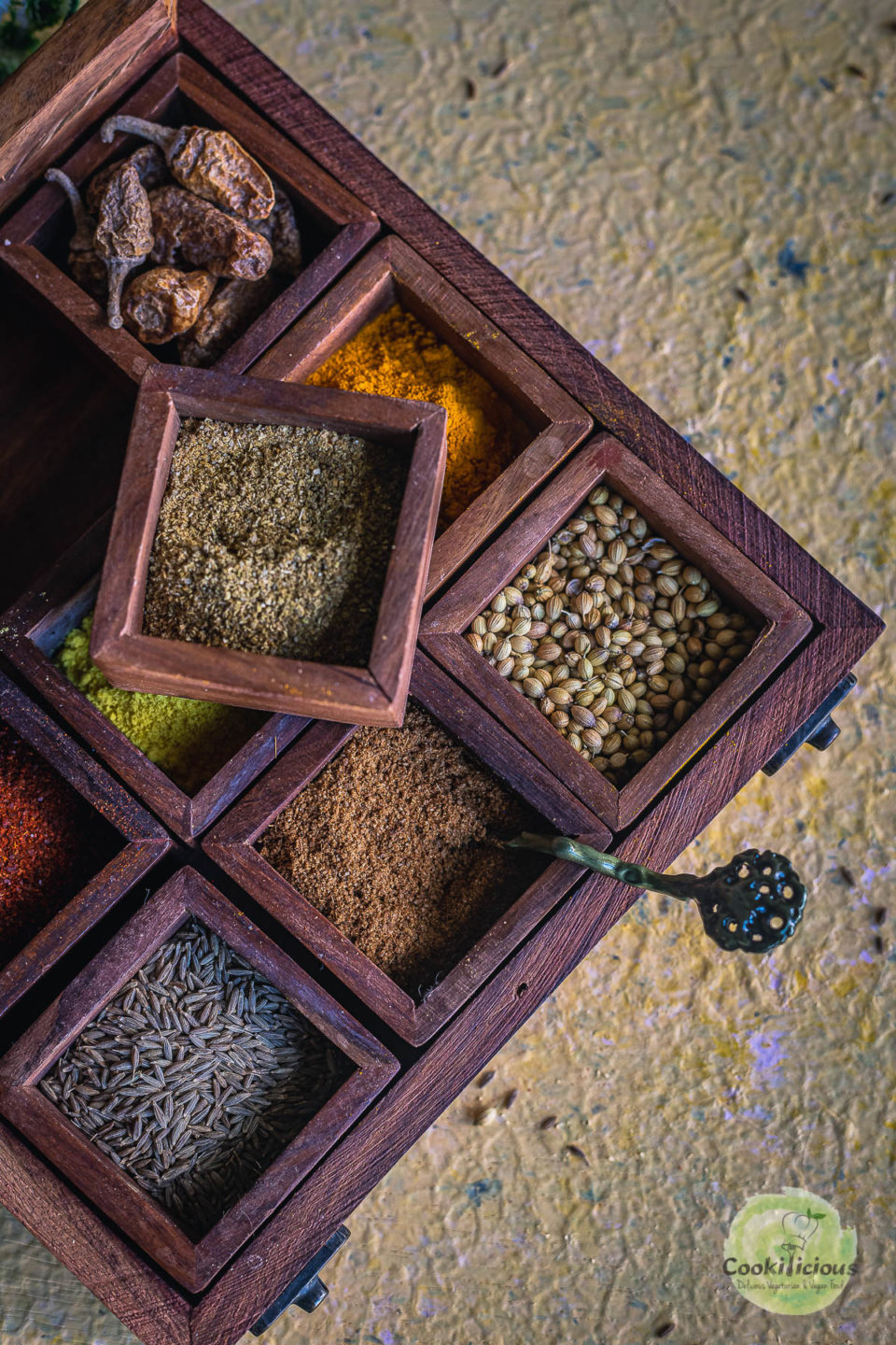 half side of an Indian spice box filled with spices