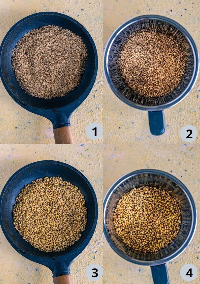 4 image collage showing how to make Coriander Cumin Powder - Indian Spice Mix Recipe