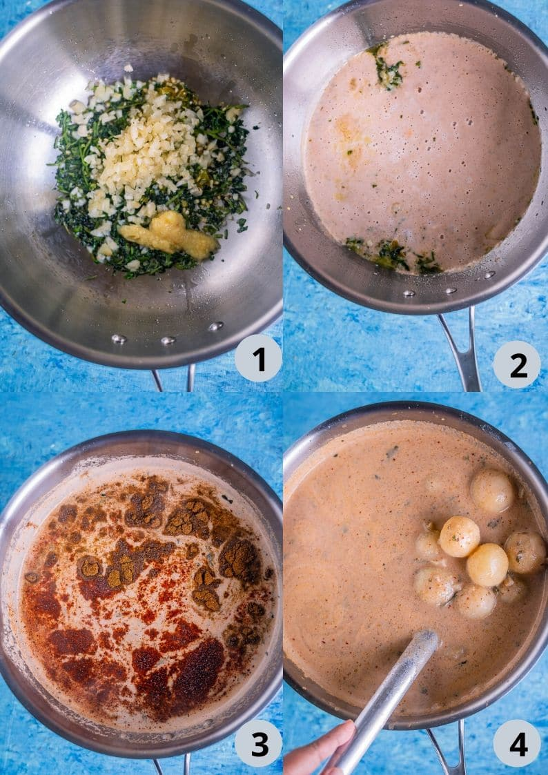 4 image collage showing how to make Dum Aloo