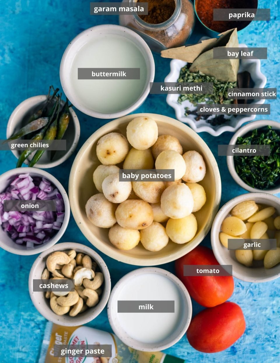 all the ingredients needed to make Dum Aloo placed on a table with labels on them