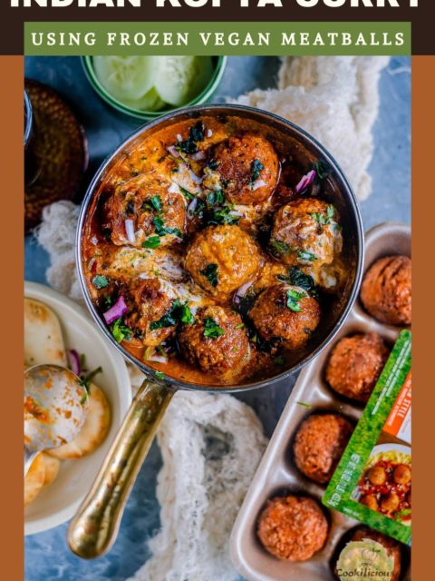 a round serving pan filled with Spicy Kofta Curry with Plant-Based Meatballs with text at the top