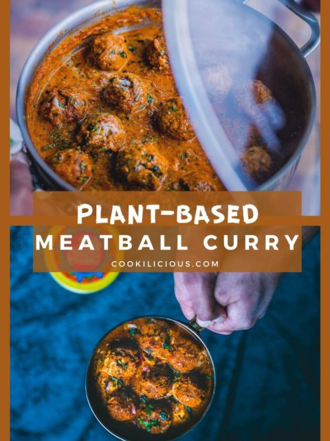 2 image collage of Spicy Kofta Curry with Plant-Based Meatballs with text in the middle