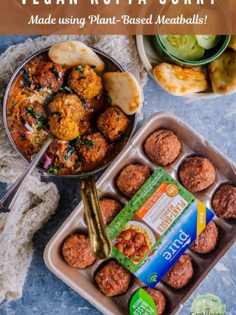 a pan of Spicy Kofta Curry with Plant-Based Meatballs with frozen meatballs on the side with text at the top