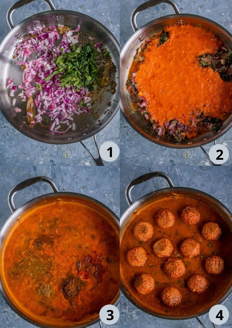 4 ste collage showing the process to make Spicy Kofta Curry with Plant-Based Meatballs