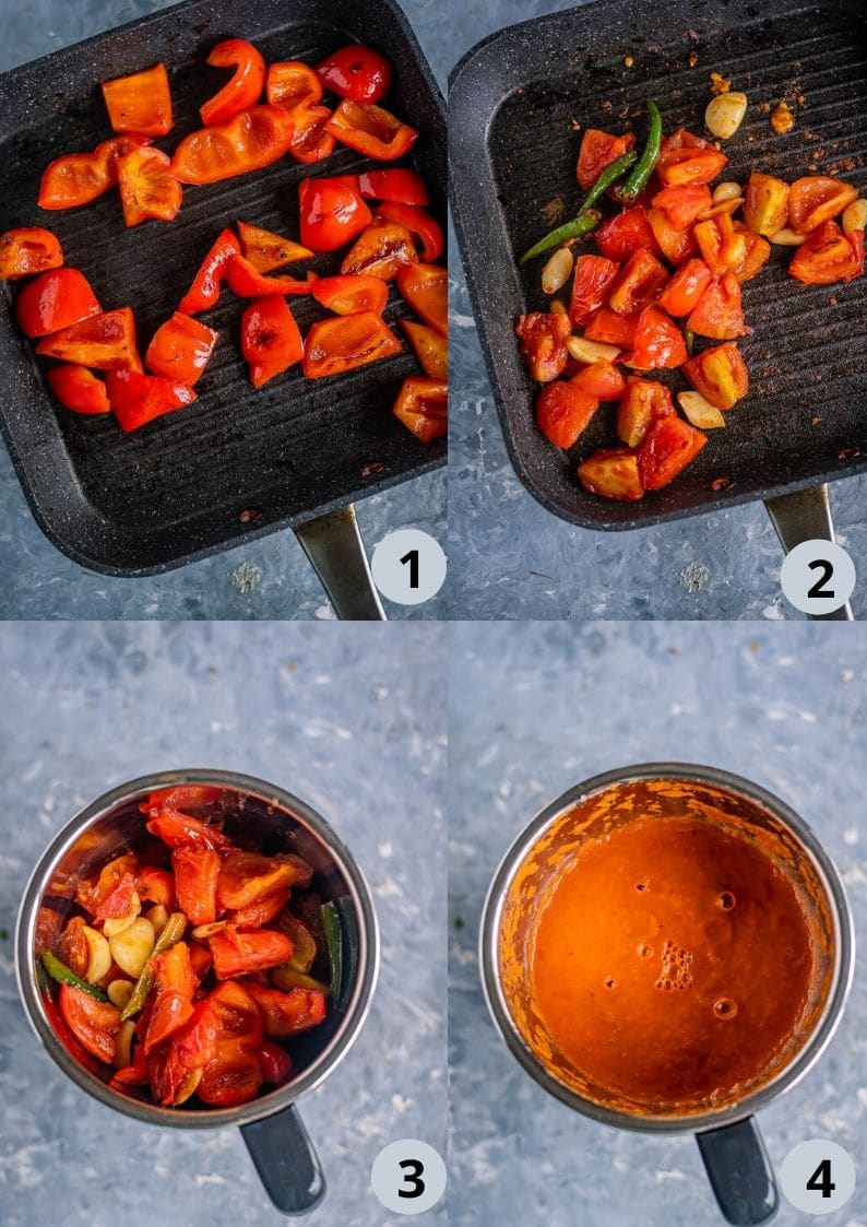 4 image collage to show how to make the masala base for Spicy Kofta Curry with Plant-Based Meatballs