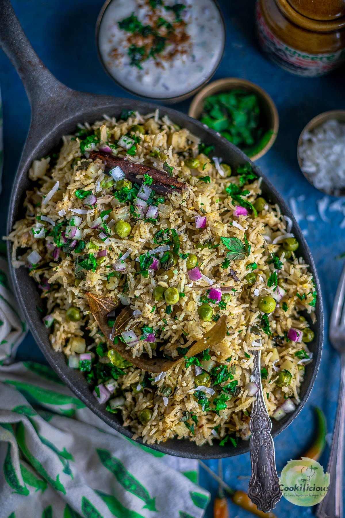Potato Rice With Mint | Instant Pot Aloo Pudina Pulao served in an oval platter