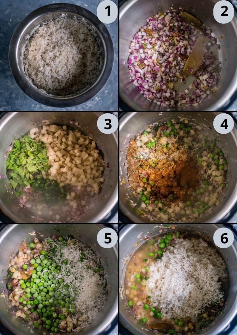 6 image collage showing how to make Instant Pot Aloo Pudina Pulao in simple steps