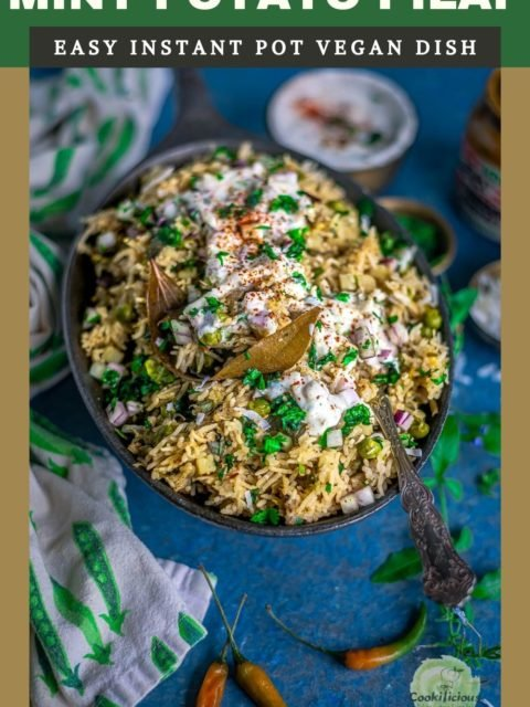 Potato Rice With Mint | Instant Pot Aloo Pudina Pulao with rait on top served on a platter
