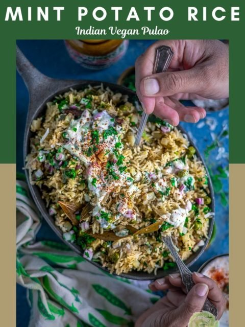 2 people digging into a platter of Potato Rice With Mint | Instant Pot Aloo Pudina Pulao with spoons in their hands and text at the top