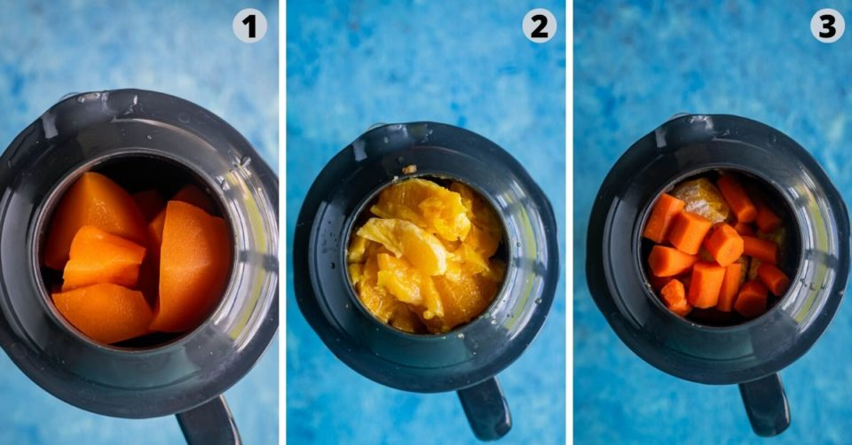 3 image collage showing the steps to make Organic Energy Drink With Carrots, Orange and Cantaloupe