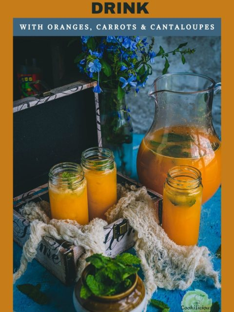 3 glasses of Organic Energy Drink With Carrots, Orange and Cantaloupe with a filled jug next to it and text at the top