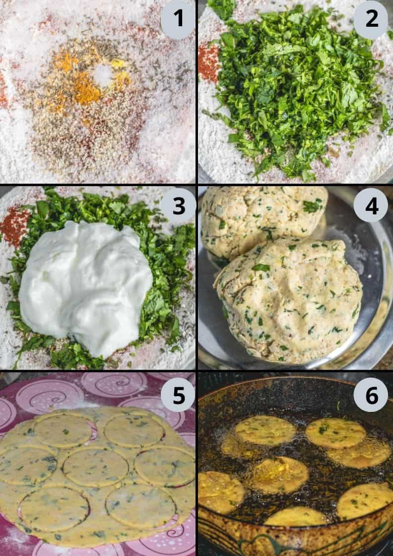 6 image collage showing how to make cilantro mathri