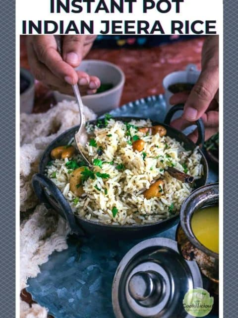 one hand holding a small kadai filled with jeera rice while the other hand is digging in with a spoon and text at the top