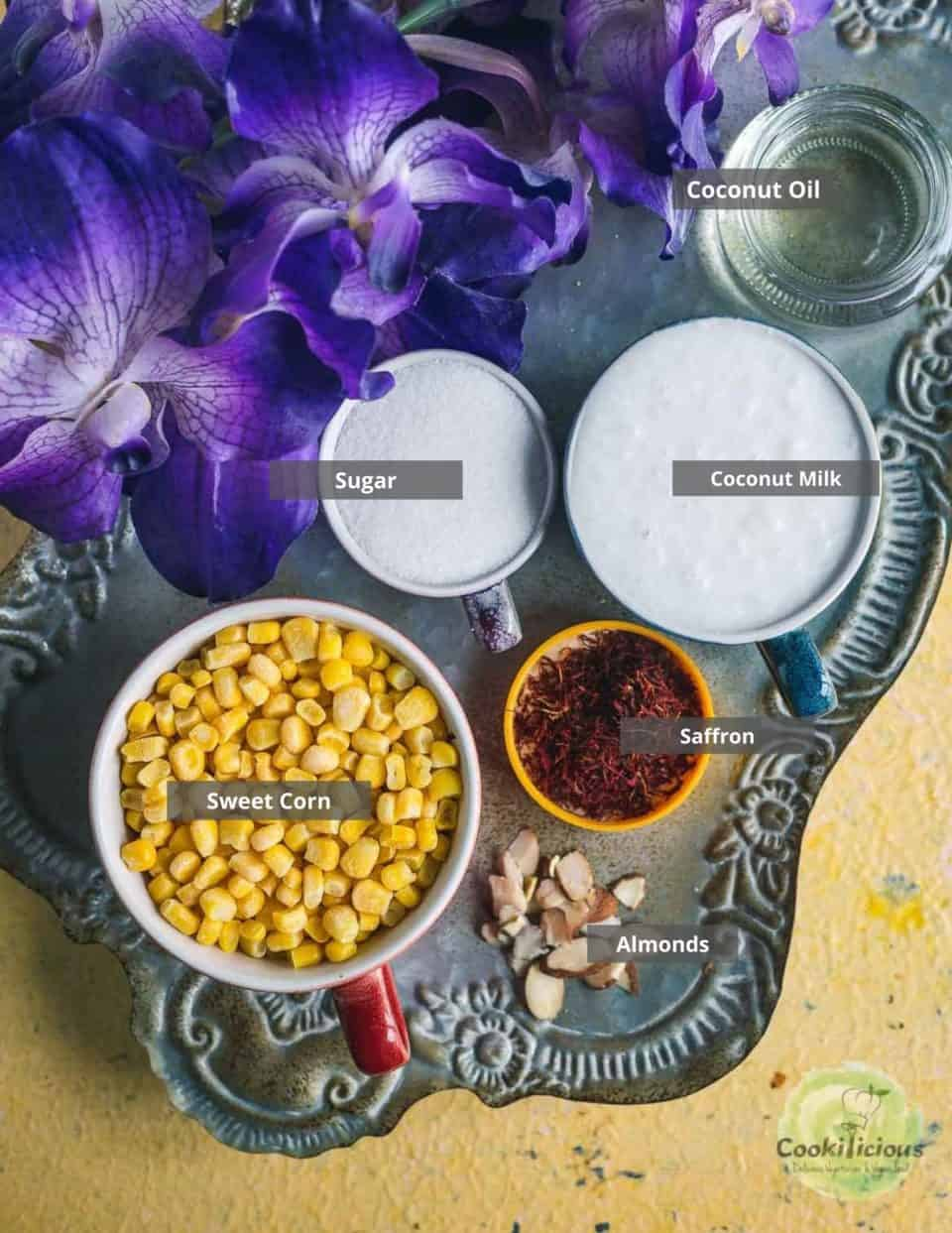 all the ingredients needed to make Jhajhariya (vegan coconut milk pudding) placed on a tray with labels on them