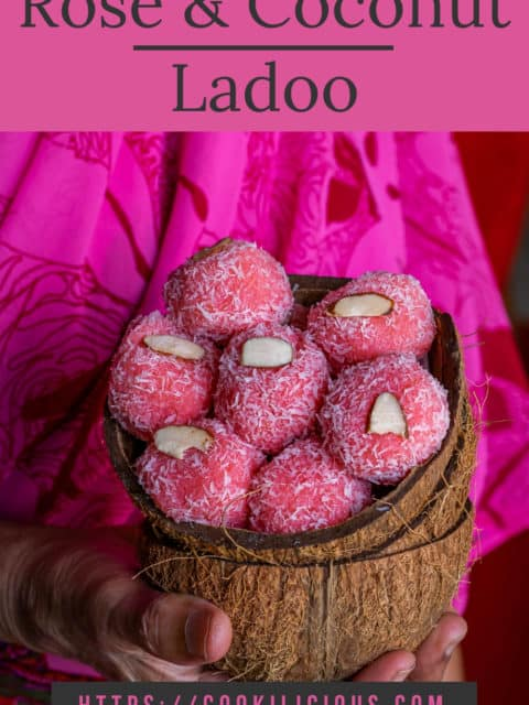 a lady holding coconut shells filled with Instant Rose flavored Coconut Ladoo and text at the top