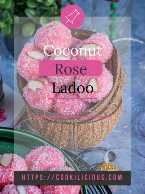 picture of rose coconut ladoos served in coconut shells with text overlay