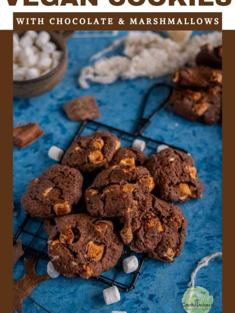 close up shot of Vegan Marshmallow Chocolate Cookies placed on a wire rack and text at the top