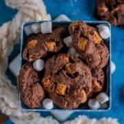 a bowl of Vegan Marshmallow Chocolate Cookies