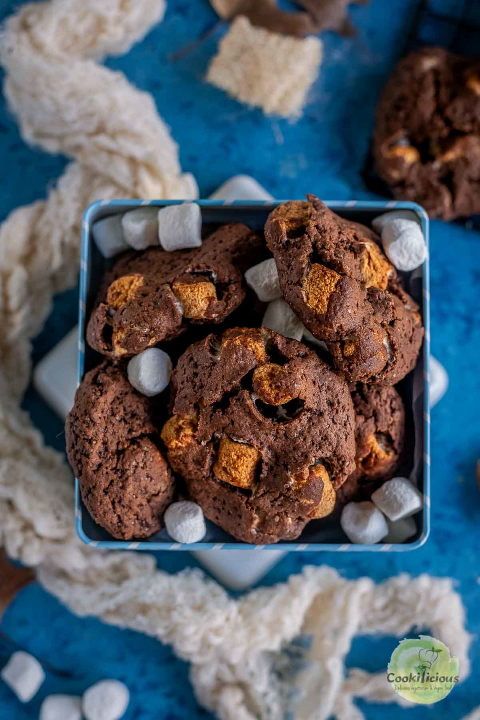 a bow of Vegan Marshmallow Chocolate Cookies