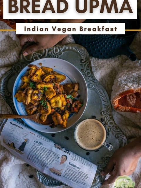 a set of hands placing a tray with coffee, bread upma and newspaper on the bed and text at the top