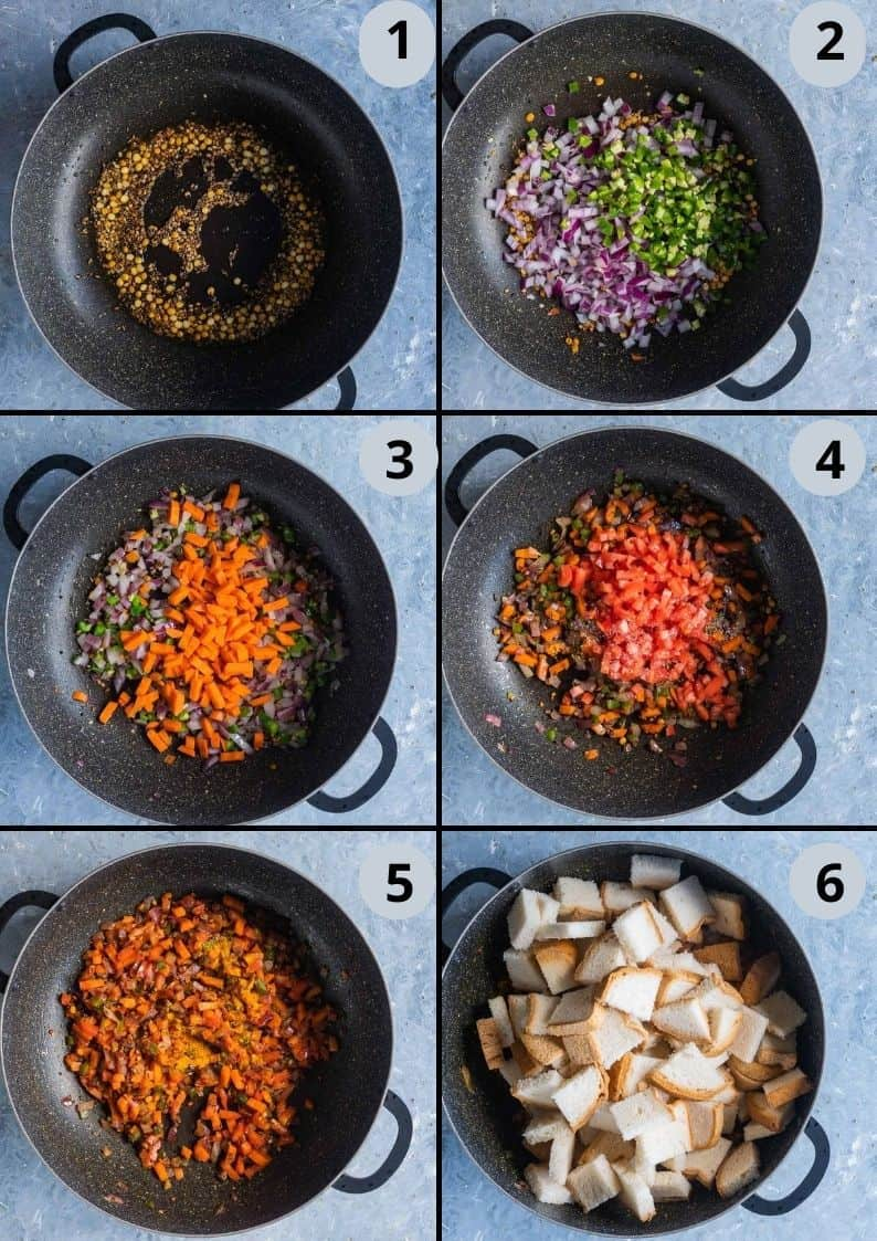 6 image collage showing the steps on how to make bread upma