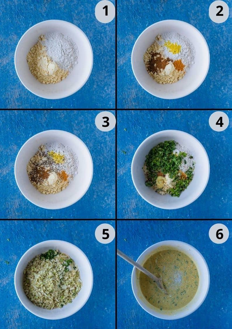 6 image collage showing the steps to make Kobichi Vadi