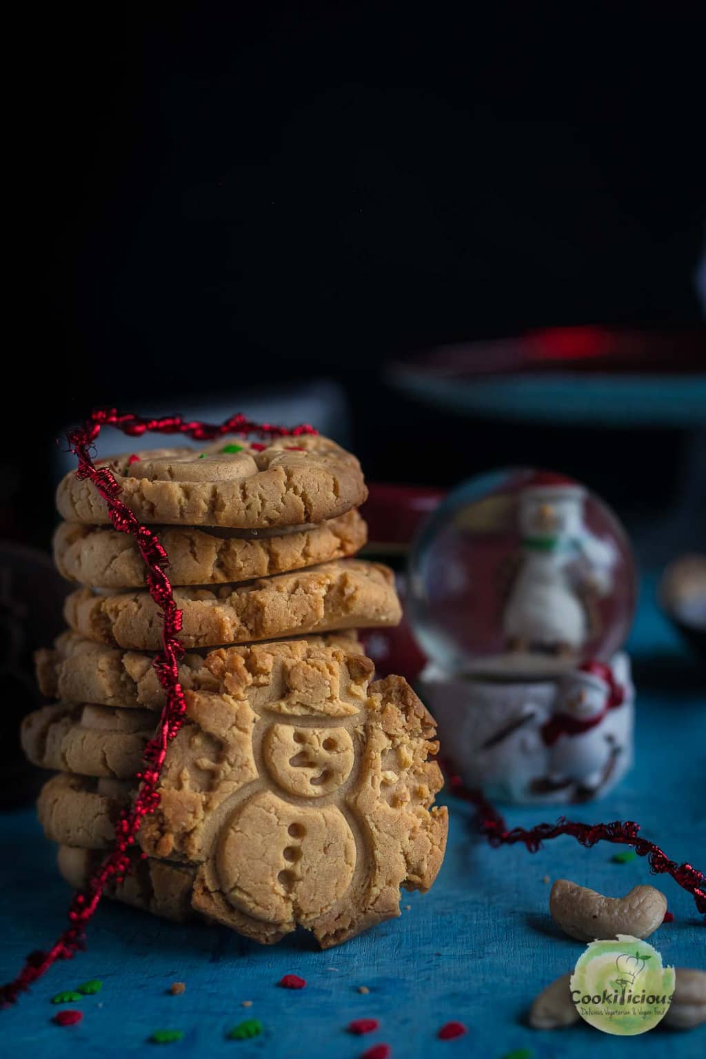 eggless Indian cookies stacked one on top of the other