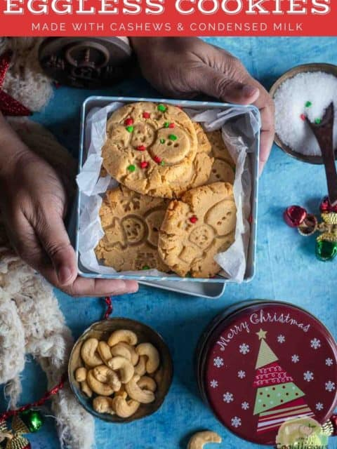 a set of hands holding a small gift box containing eggless Indian cookies and text at the top