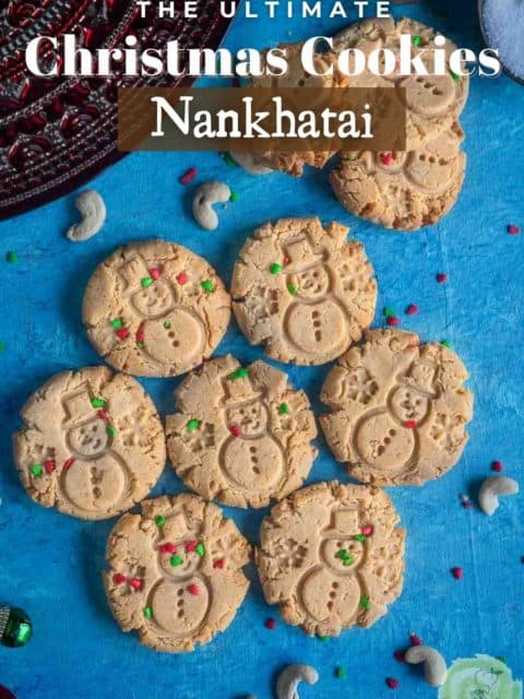 Nankhatai cookies arranged like a flower on the table and text at the top