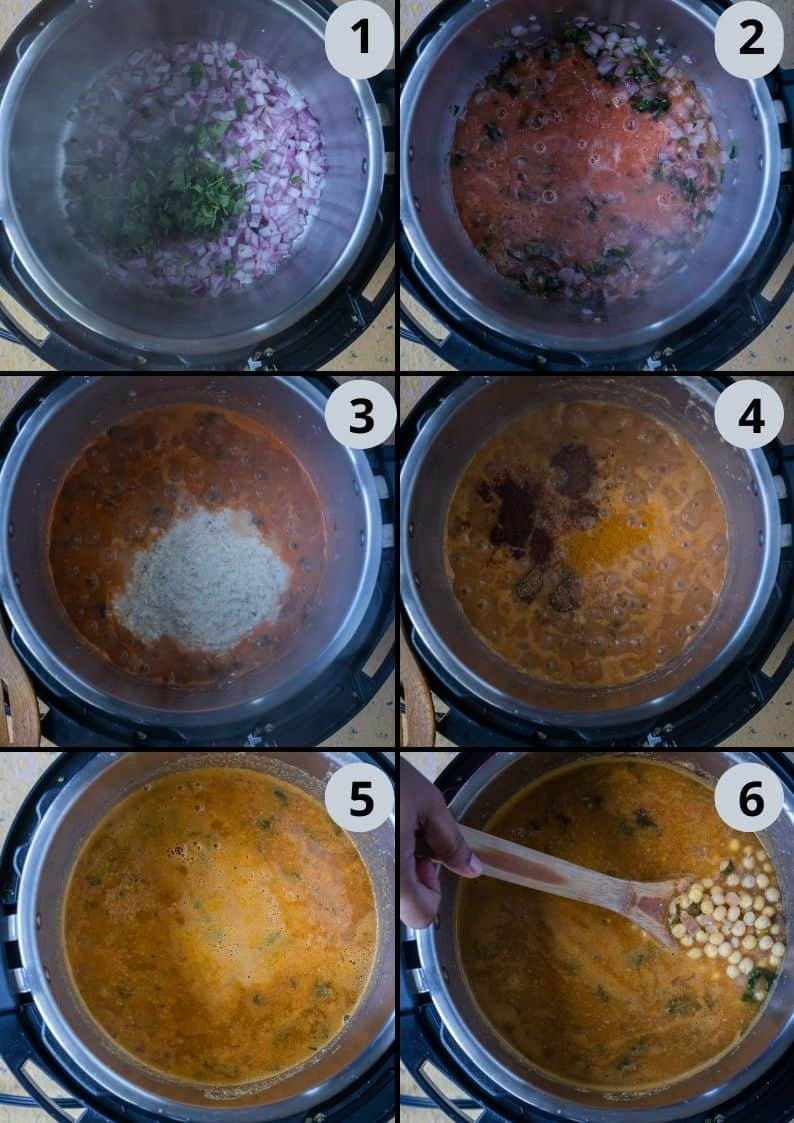 6 image collage showing the steps to make Yellow Peas Curry Chili