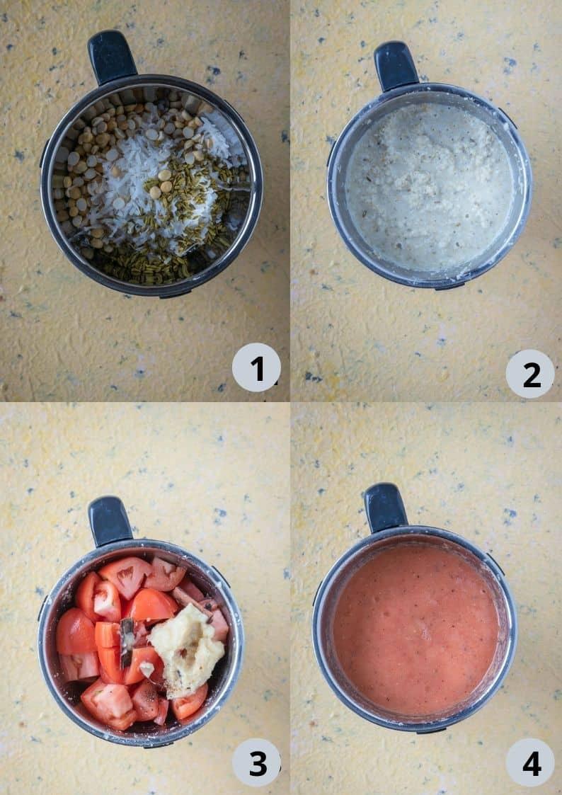 4 image collage showing the steps to make the masala for Vegan Pattani Kuzhambu