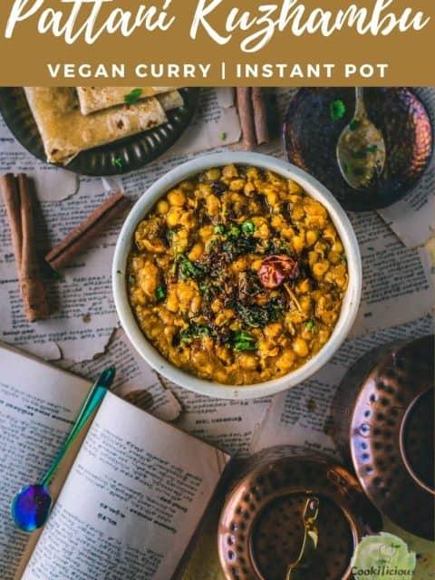 Vegan Pattani Kuzhambu in a bowl with text at the top