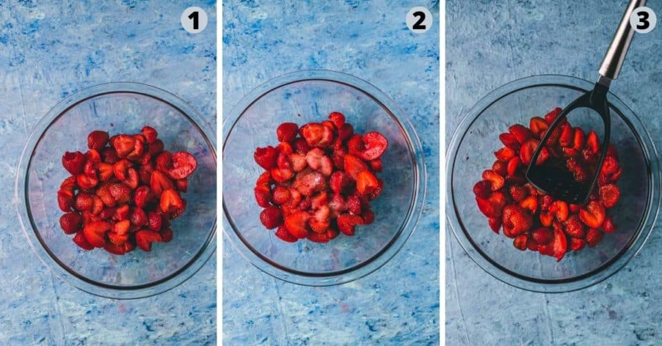 3 image collage showing how to prep strawberry to make ice cream