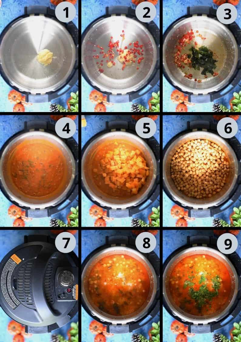 9 image collage showing the steps to make Instant Pot Butternut Squash Chickpea vegan Thai Curry
